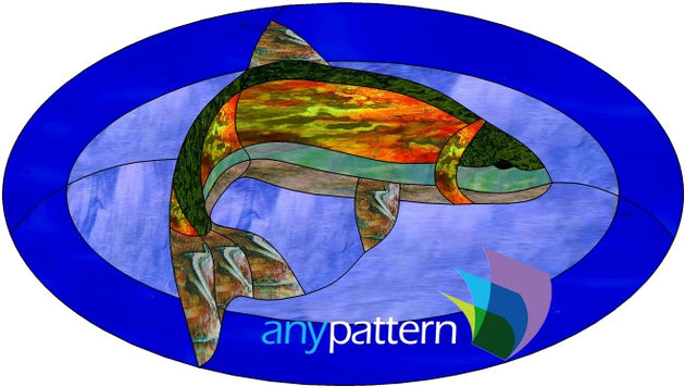 Trout oval stained glass pattern