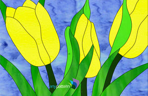 Tulips in Spring Stained Glass Pattern
