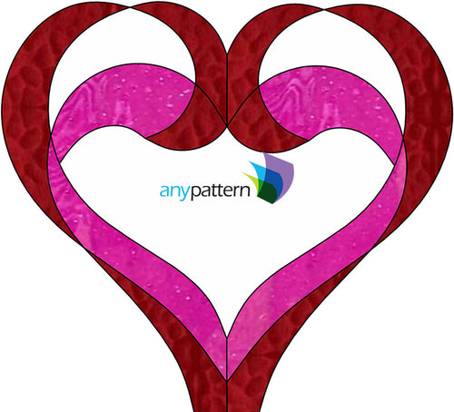 Two Hearts Entwined Stained Glass Pattern