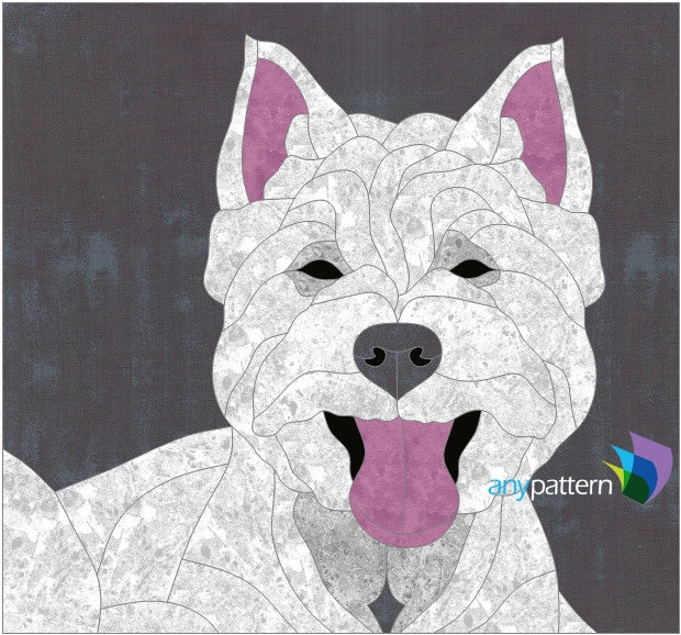 Dog Westie Applique Quilt Pattern in Gray