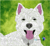 Dog Westie Applique Quilt Pattern in Green