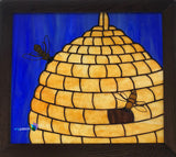 Beehive stained glass panel by Jeanne Kruass