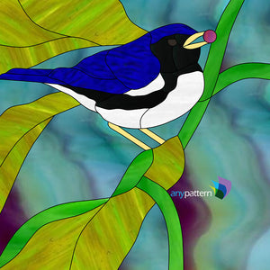 Black-throated Warbler Stained Glass Pattern