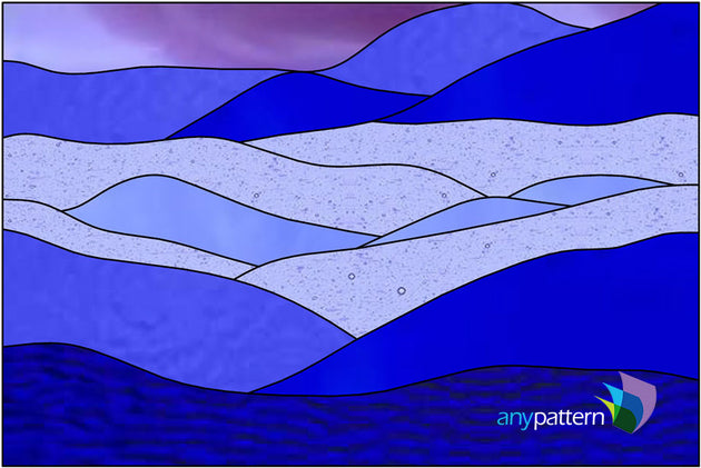 Blue Landscape Stained Glass Pattern