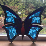 Butterfly stained glass example blue