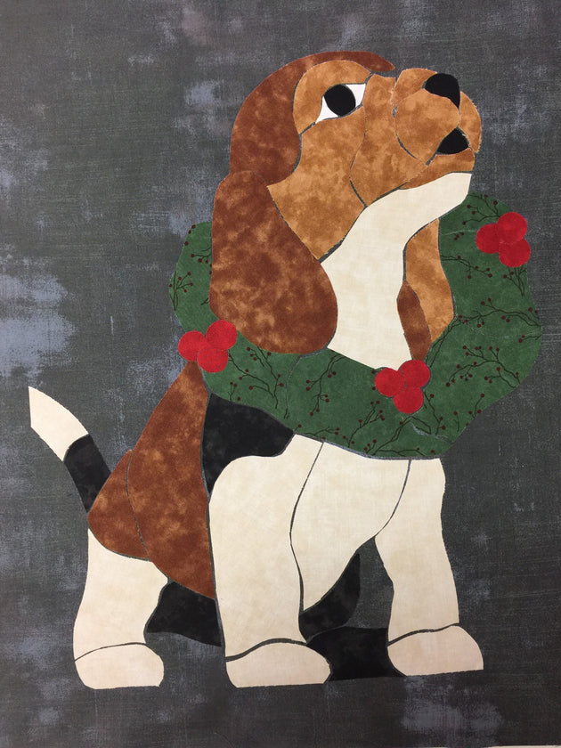 Applique Quilt Patterns Example of Christmas Puppy by Shirley