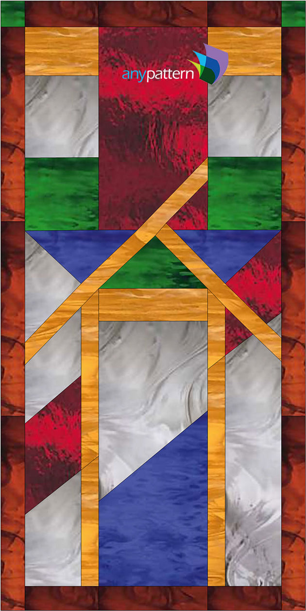Craftsman Triangles Vertical Stained Glass Pattern