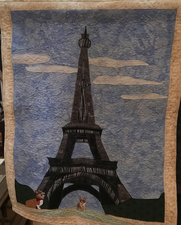 Eiffel Tower Applique with Corgis Final