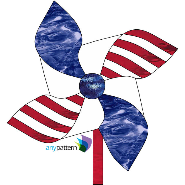 Flag Pinwheel Stained Glass Pattern