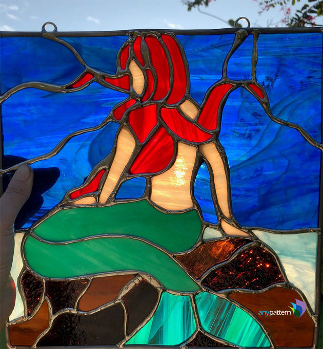 Final mermaid stained glass example by Bethany
