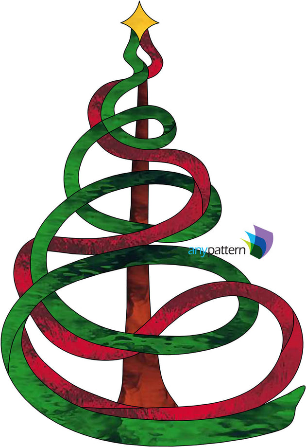 Ribbon Christmas Tree Stained Glass Pattern - Ribbon Christmas Tree Stained Glass Pattern €� Anypattern.com