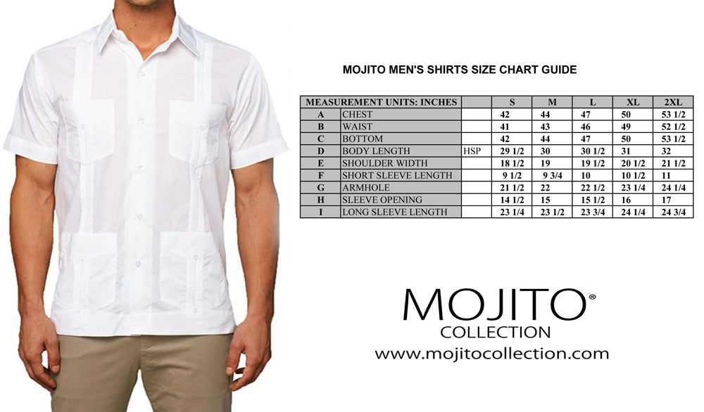 Mojito Men's Shirt Size Chart Guide