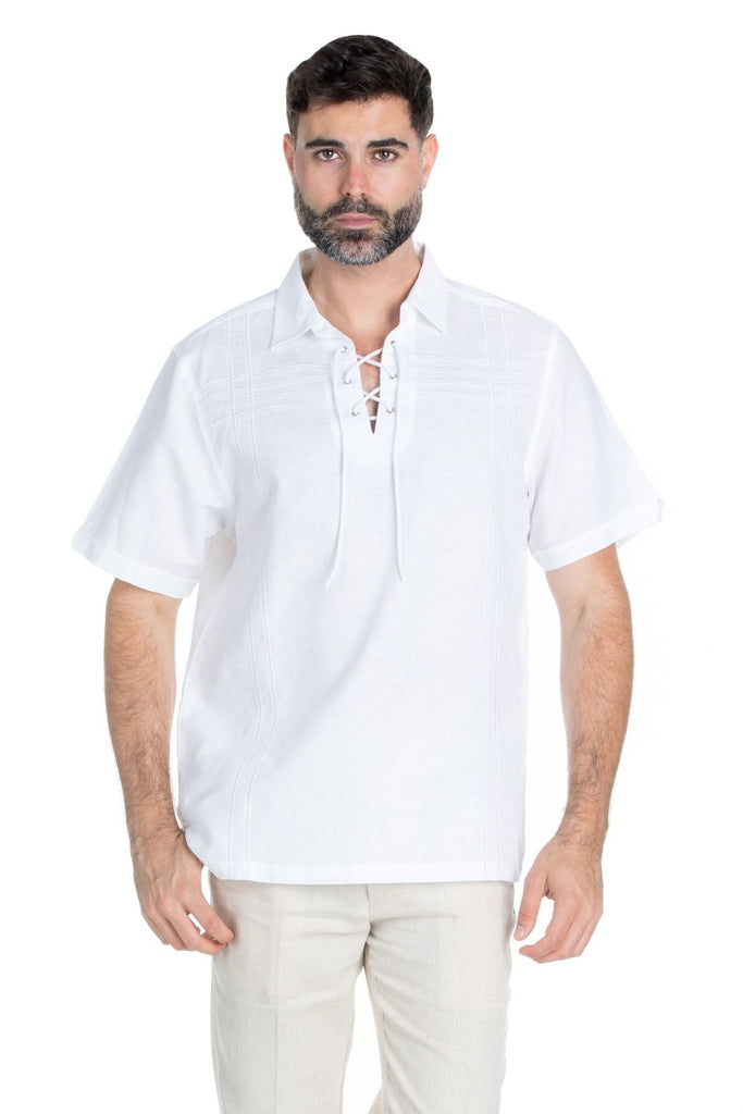 Men's Beach Resort Wear Embroidered Linen Shirt Short Sleeve Lace Up Collar