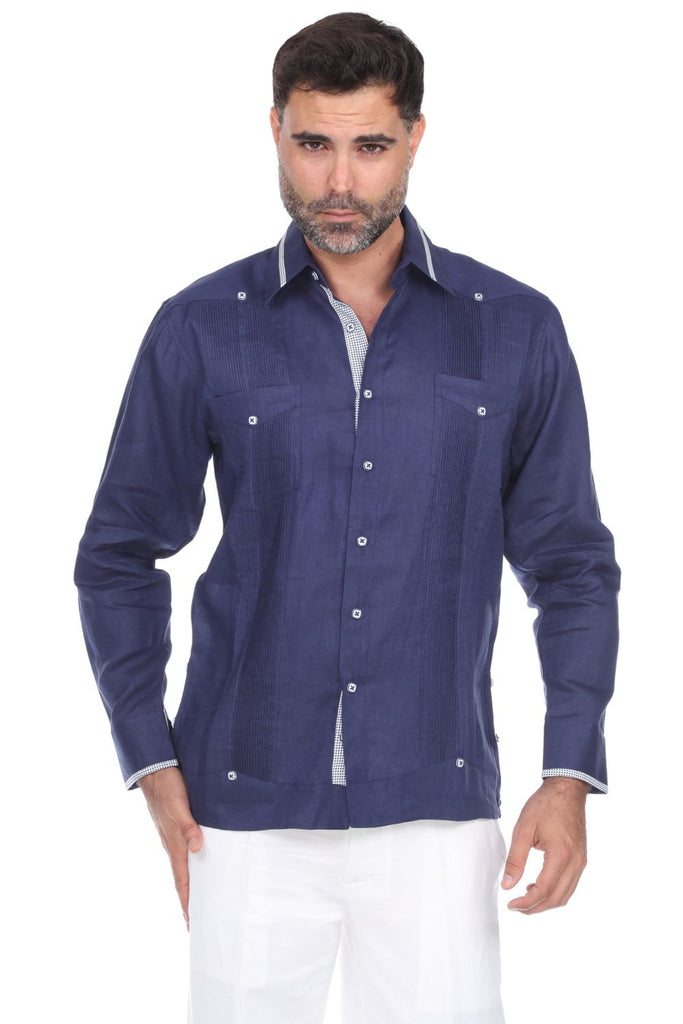 Mojito Collection Men's Stylish 100% Linen Guayabera Shirt Long Sleeve