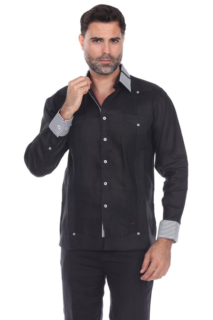 Mojito Collection Big Men's Stylish 100% Linen Guayabera Shirt Long Sleeve 2X-4X