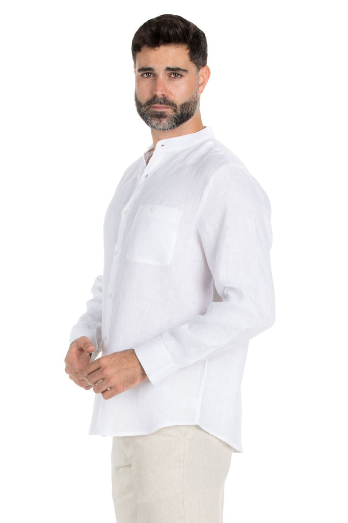 Men's Mandarin Collar 100% Linen Long Sleeve Shirt