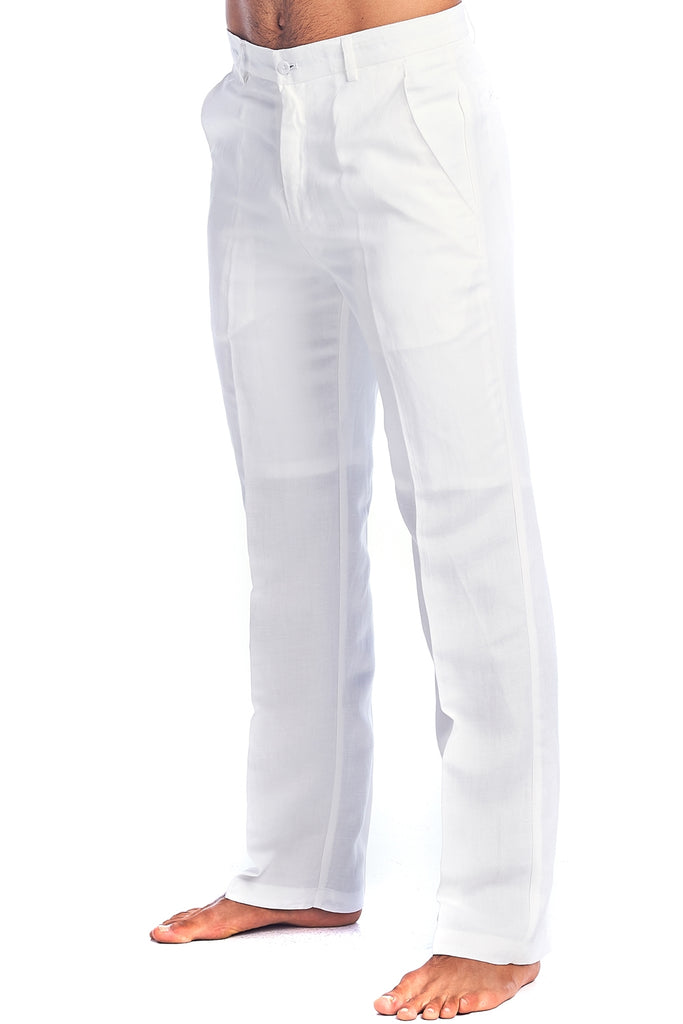 Men's Slim Fit Casual Resort Wear Linen Flat front Dress Pants