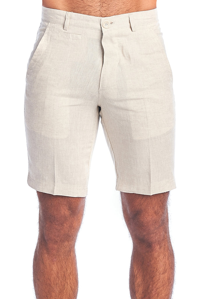 Men's Resort Casual 100% Linen Flat front Dress Shorts