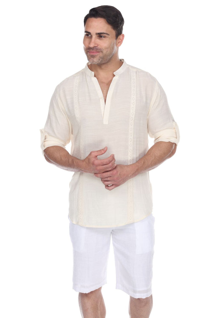 Men's Mandarin Collar Beachwear Roll Up Sleeve Shirt