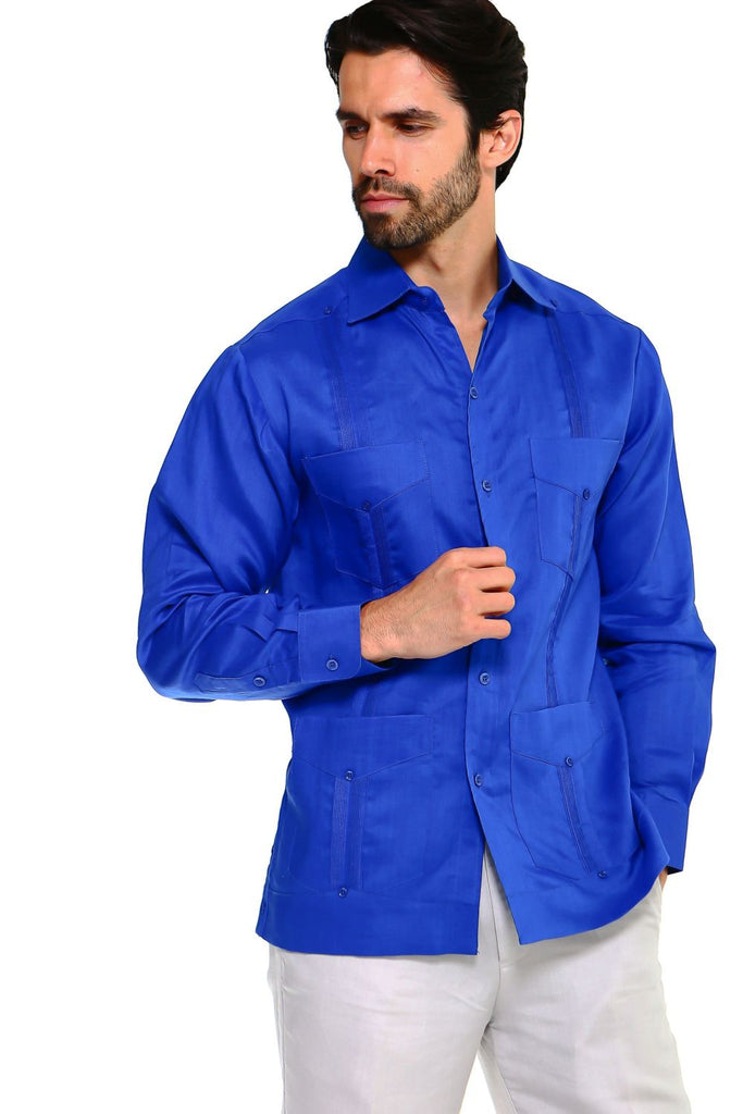 Men's Big Size Guayabera Shirt Premium 100% Linen Long Sleeve 3X-8X