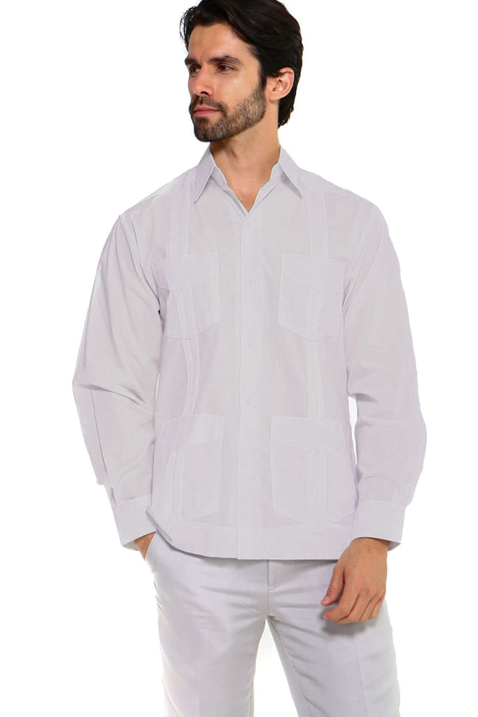 Mojito Collection Men's Guayabera Shirt Premium 100% Linen Long Sleeve
