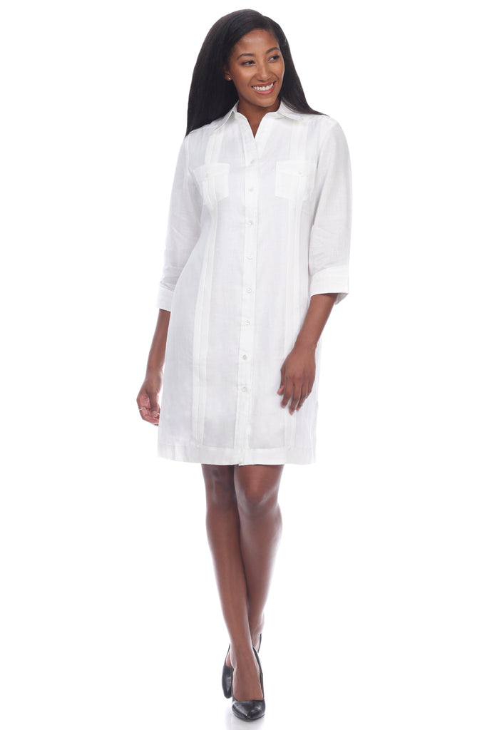 Women's Classic 100% Linen Guayabera Dress 3/4 Sleeve and Button Down