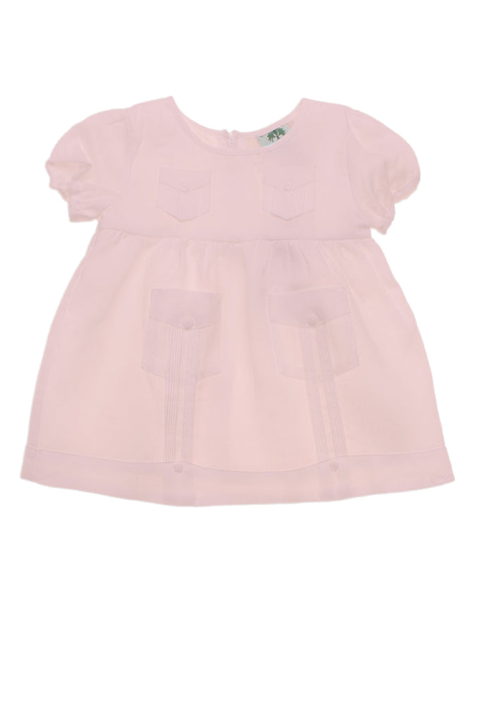 Infant Baby Girl Linen Guayabera Dress 0M-12M