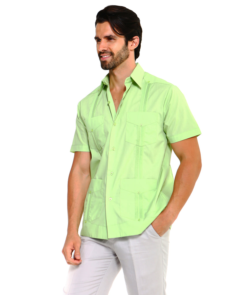 Mojito Collection Guayabera Shirt Classic Poly Cotton Blend Short Sleeve