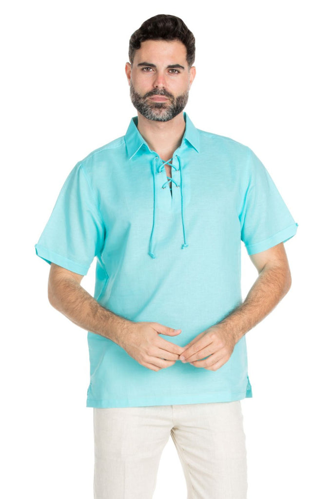 Men's Beach Resort Wear Linen Shirt Short Sleeve Lace Up Collar