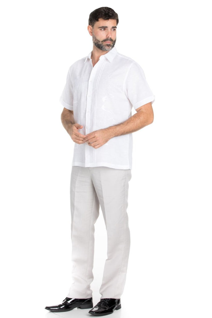 Casual Linen Blend Pin Tuck Embroidery Shirt
