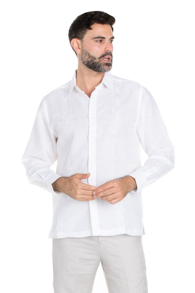 Casual Linen Blend Embroidery Shirt Long Sleeve