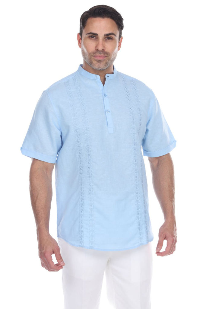 Men's Embroidered Mandarin Collar Short Sleeve Linen Shirt