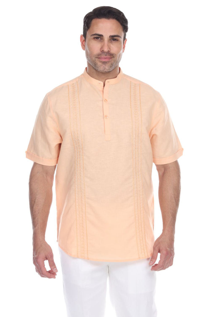 Men's Beach Resortwear Embroidered Linen Mandarin Collar Short Sleeve Shirt