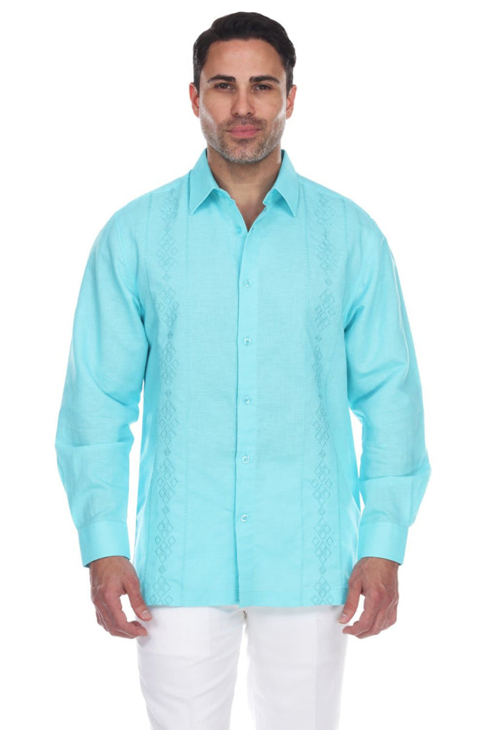 Men's Beach Resortwear Embroidered Linen Long Sleeve Shirt