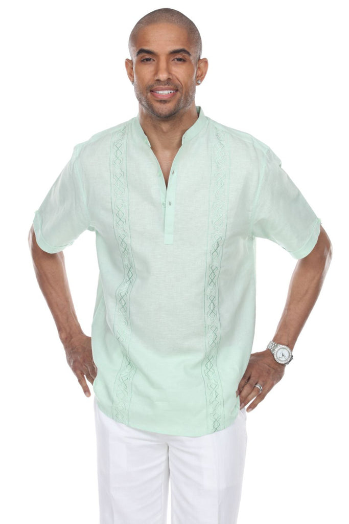 Men's Casual Resortwear Embroidered Linen Mandarin Collar Short Sleeve Shirt