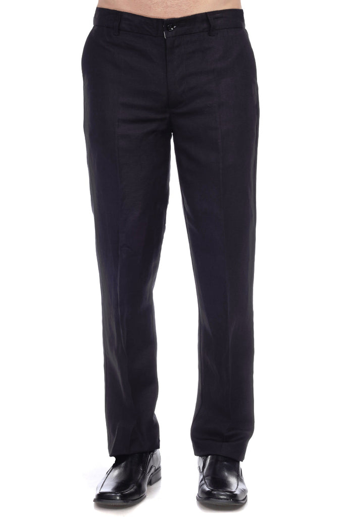 Men's Slim Fit Casual Resortwear Linen Flat front Dress Pants