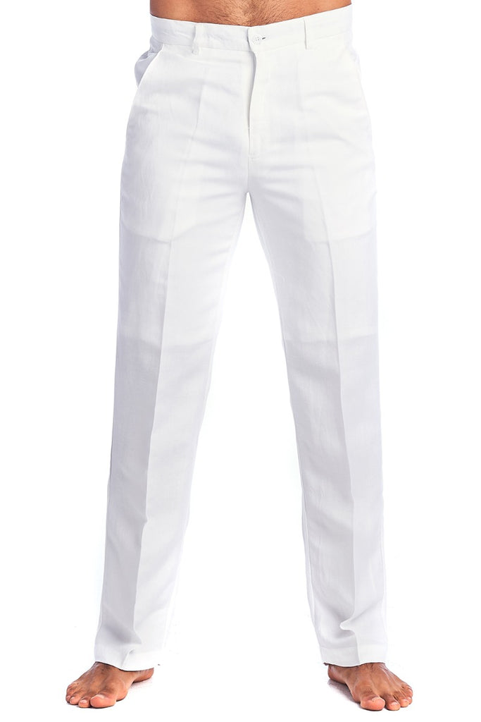 Men's Casual Resortwear Flat front Linen Dress Pants