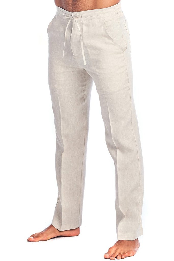 Men's Casual  Resortwear 100% Linen Drawstring Dress Pants