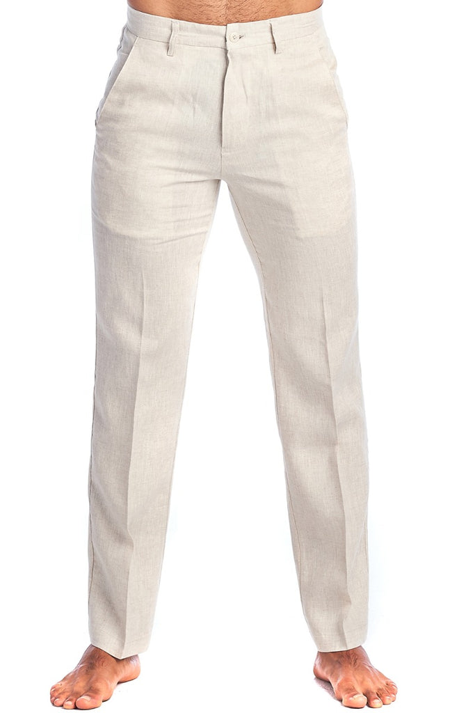 Men's Casual Flat Front Dress Pants 100% Natural Linen