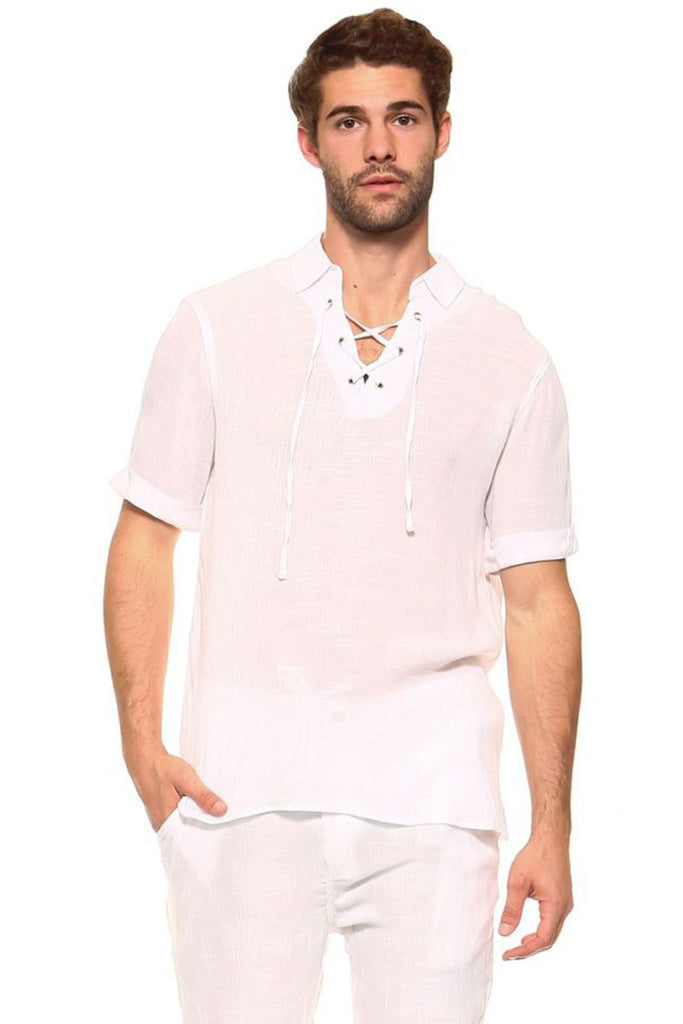 Men's Casual Lace Up Short Sleeve Beach Shirt
