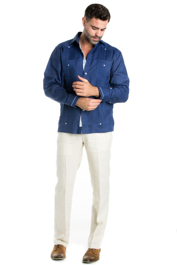 Linen Guayabera Shirt Long Sleeve Button Down with Piping Collar and Cuff Trim