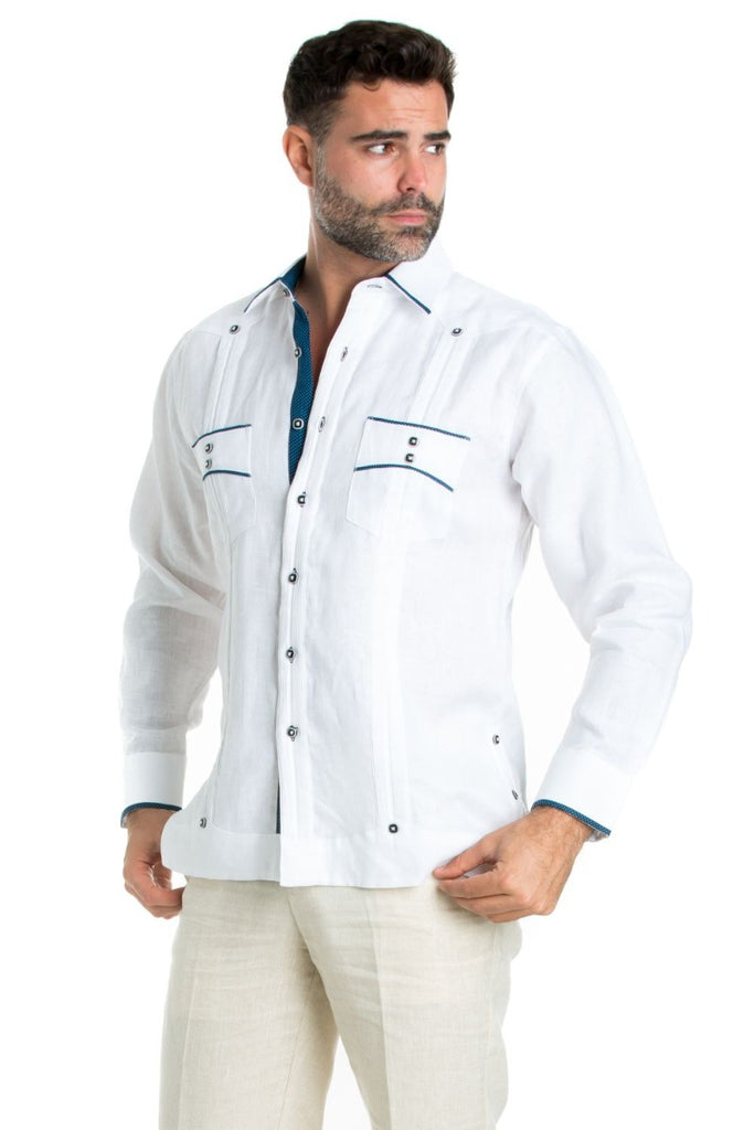 Men's Premium 100% Linen Guayabera Shirt with Contrast Trim