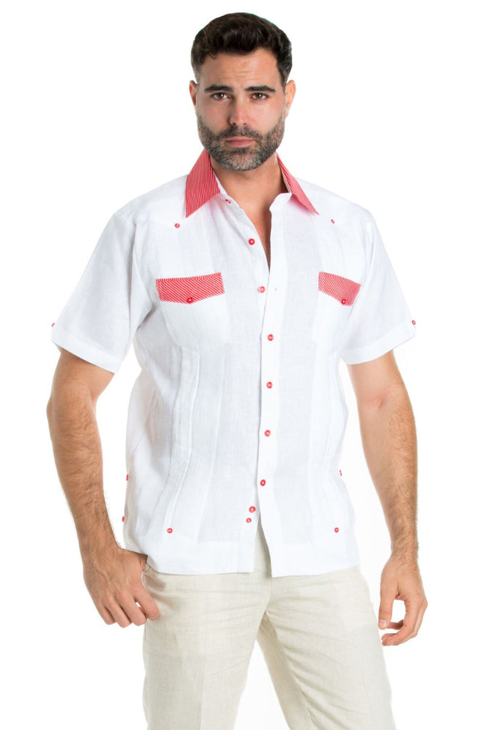 Men's Linen Guayabera Shirt Short Sleeve with Gingham Print Trim