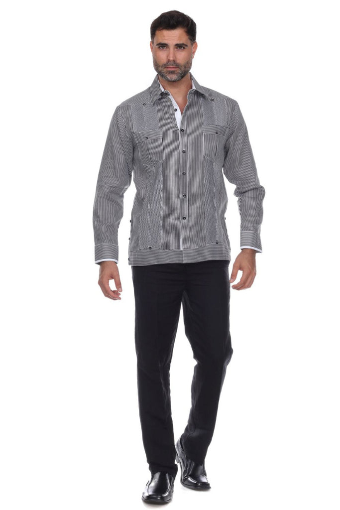 Men's Pinstripe Premium Linen Guayabera Shirt Long Sleeve