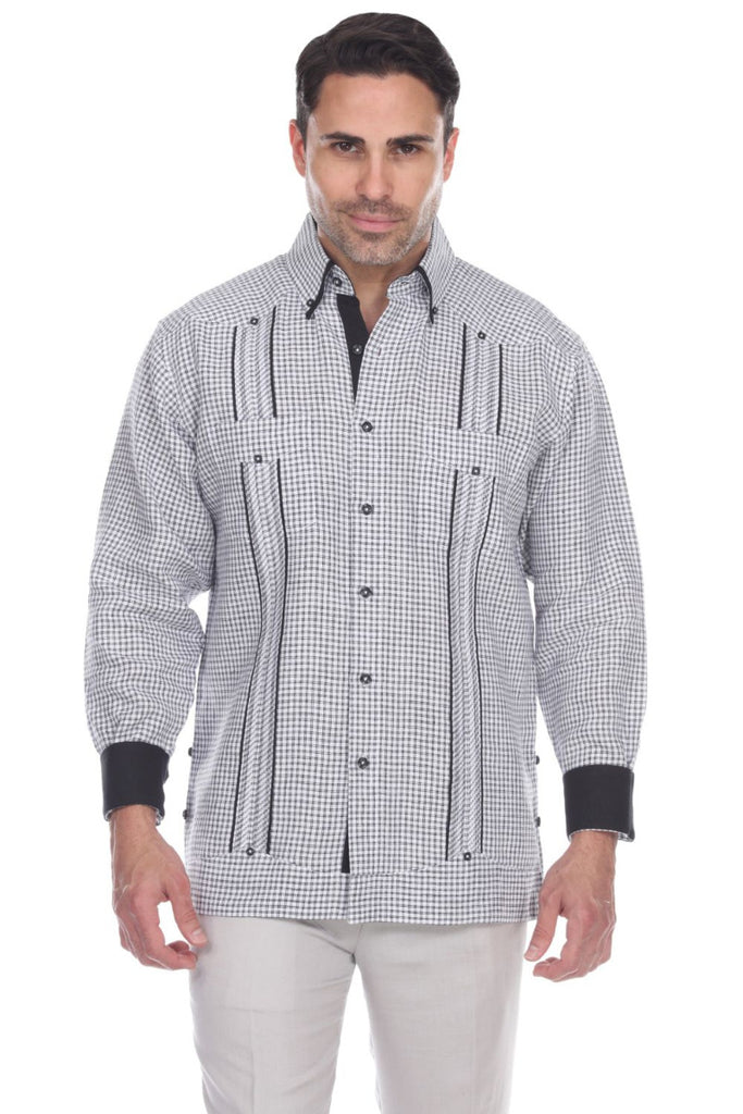 Men's Checker Print 100% Linen Guayabera Shirt Long Sleeve