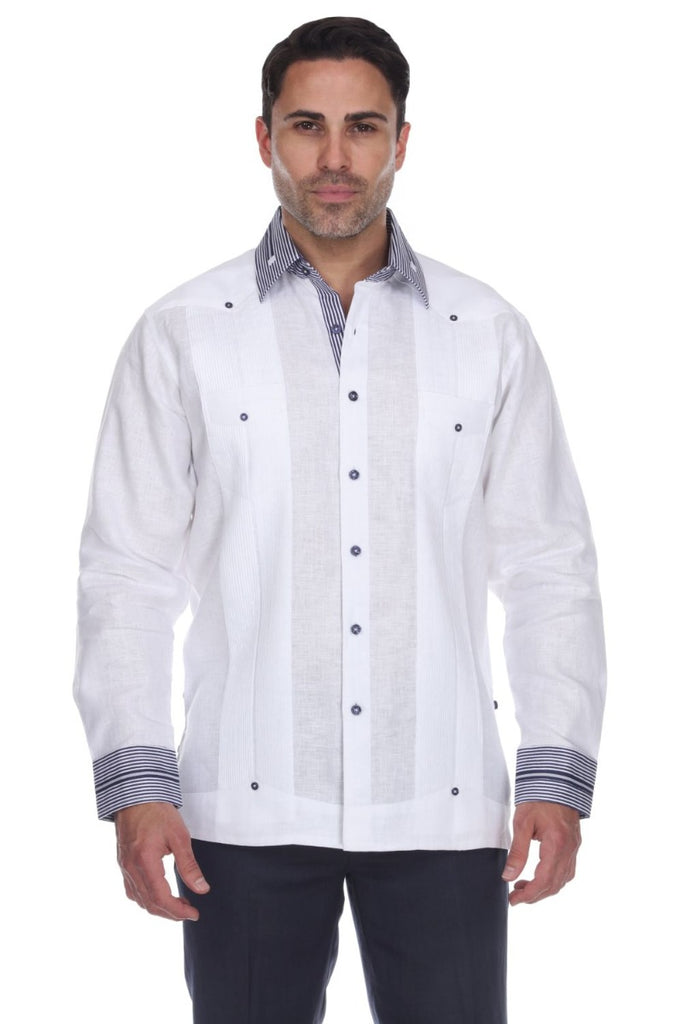 Men's Striped Collar & Cuff 100% Linen Guayabera Shirt Long Sleeve