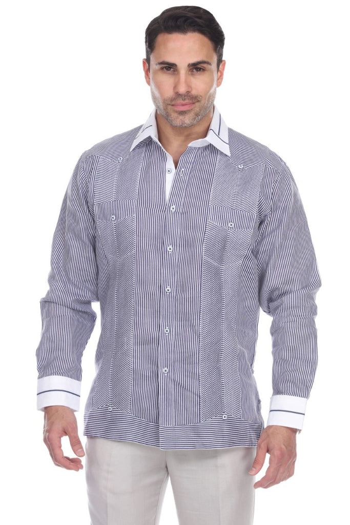 Men's Stripe Print 100% Linen Guayabera Shirt Long Sleeve
