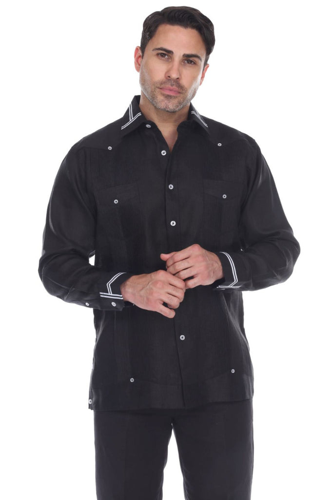Men's Collar & Cuff Design 100% Linen Guayabera Shirt Long Sleeve