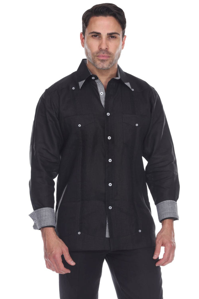 Men's 100% Linen Guayabera Shirt Long Sleeve