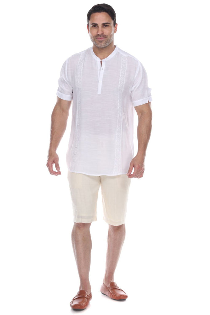 Men's Mandarin Collar Beachwear Button Up Short Sleeve Shirt